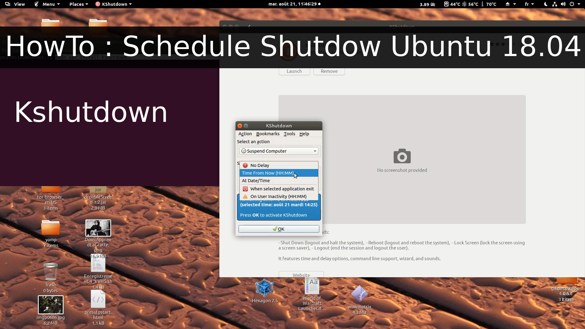 Schedule Ubuntu desktop 18.04 shutdown / sleep