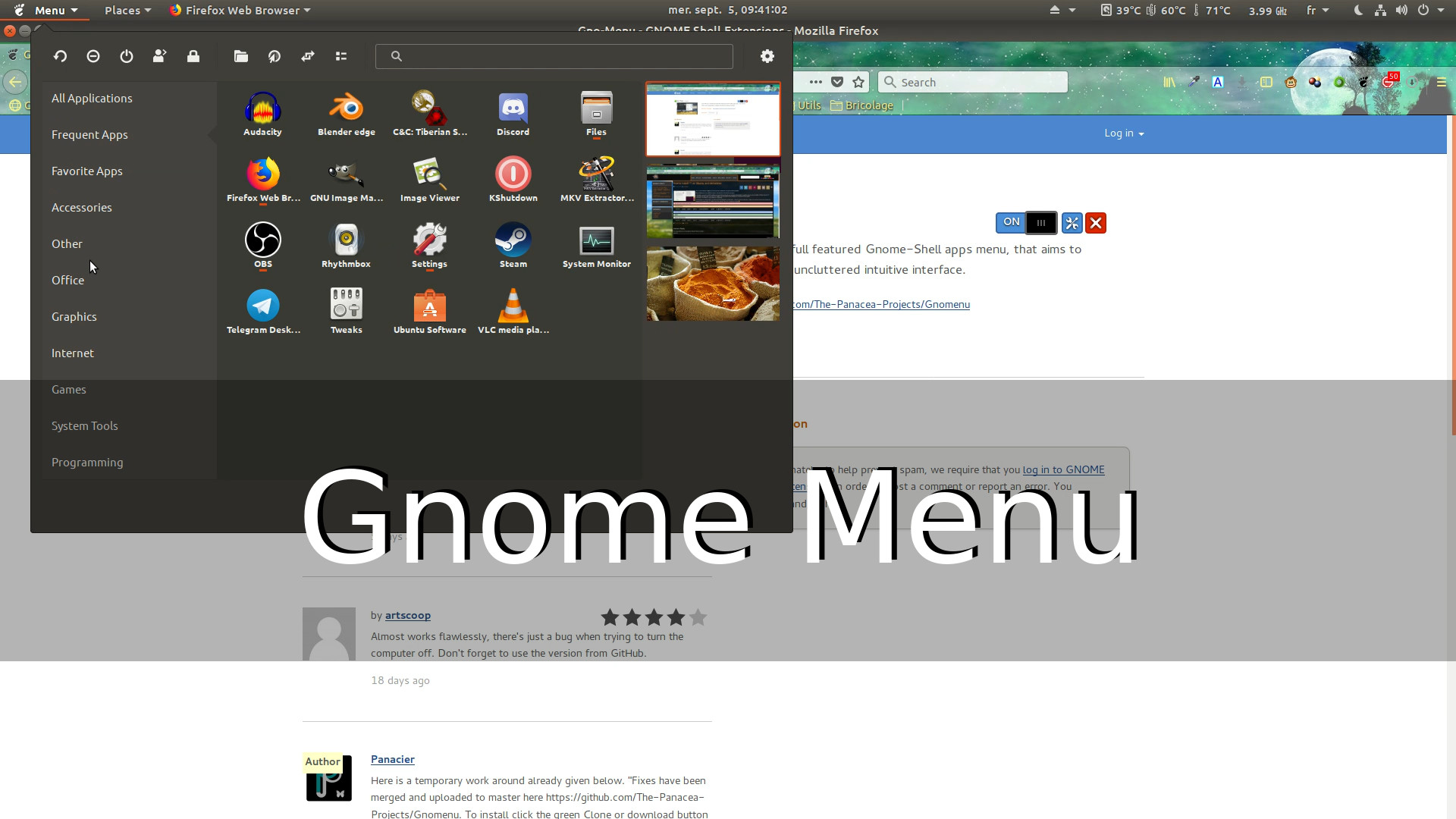 Gnome Shell Menu (spoken)