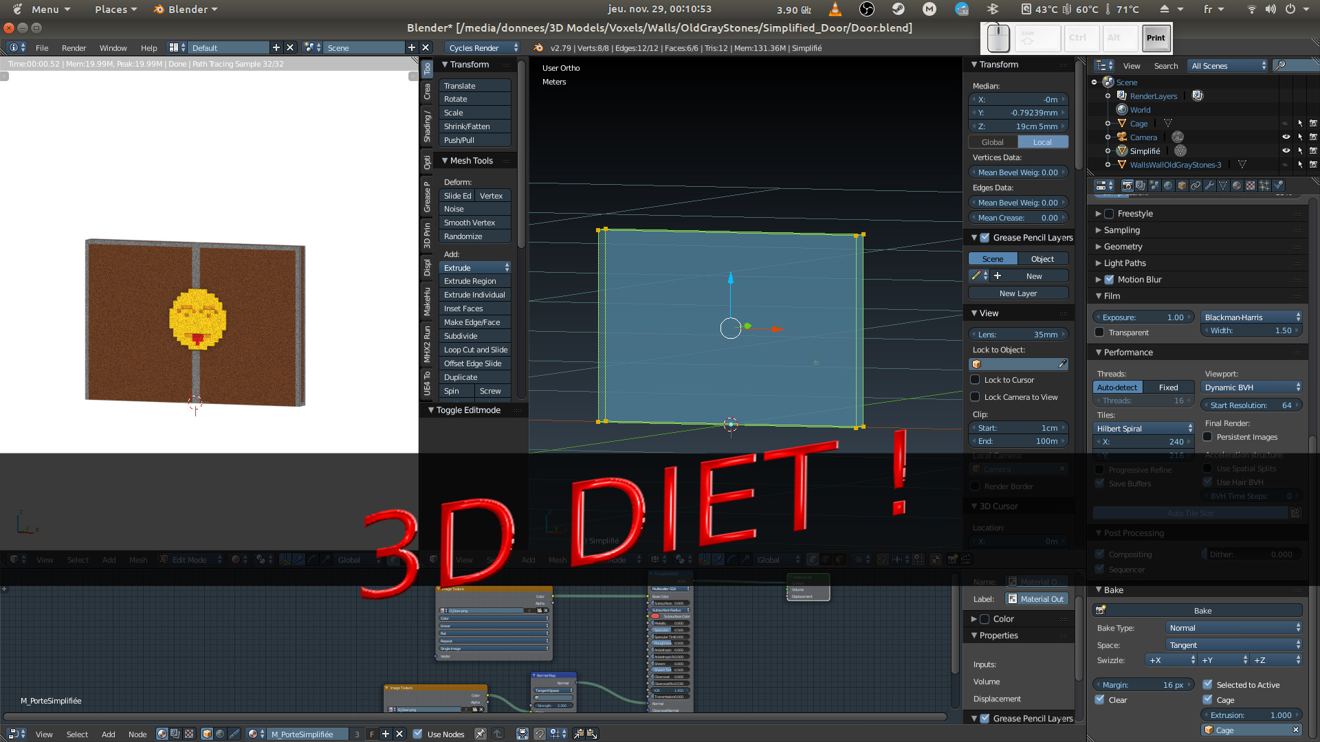 Blender : Bake Texture and Normal Map to reduce cost