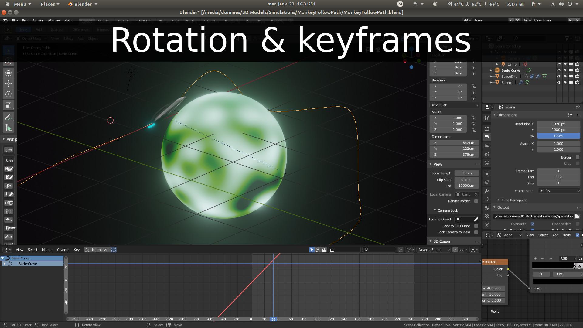 Blender 2.8 : Rotation and Keyframes