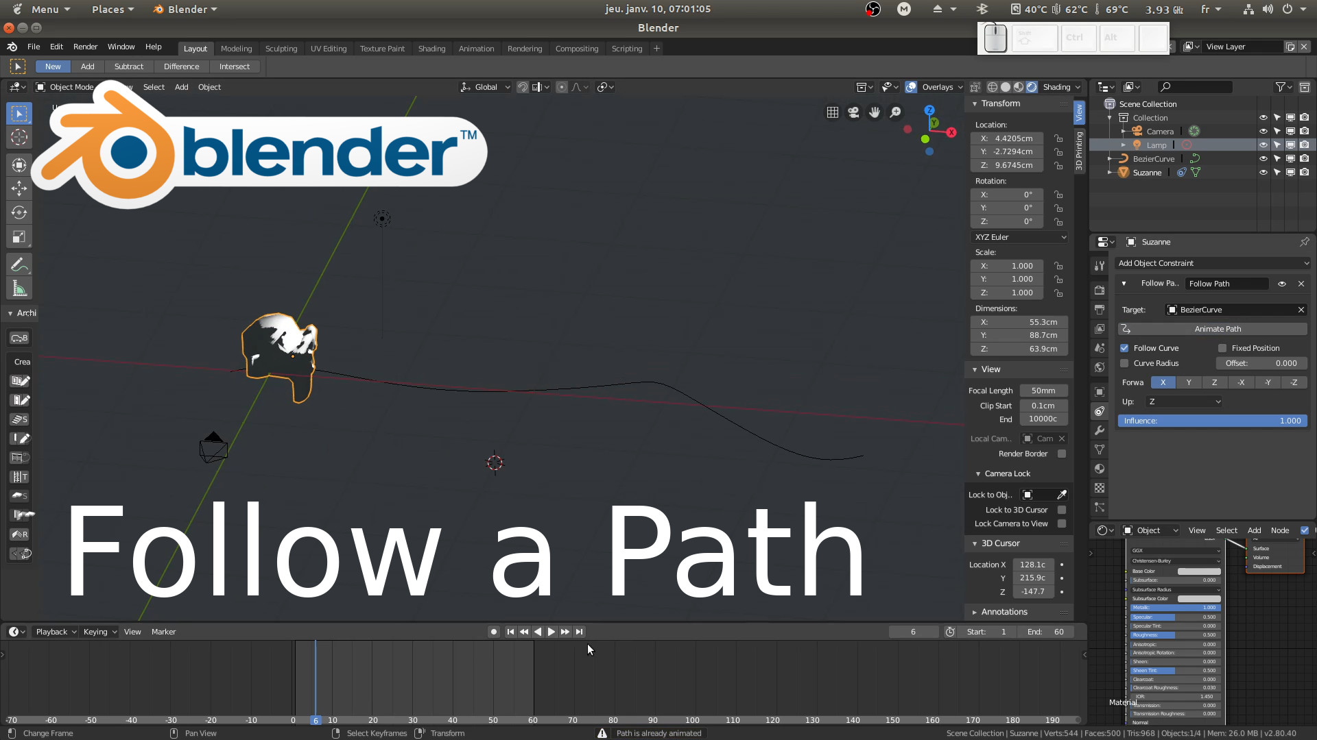 Blender : Follow a path, curve