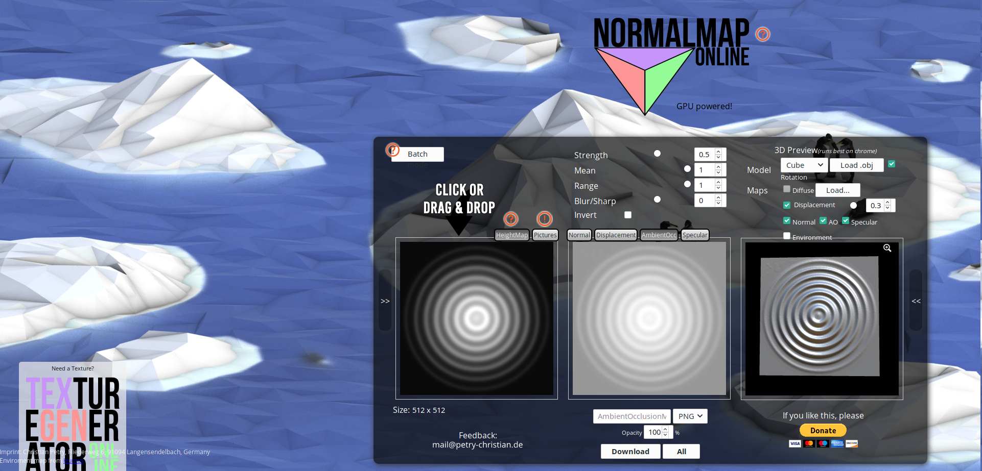 Normal maps generator : NormalMapOnline